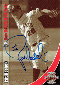 Signed Pat Neshek 2007 New Britain Rock Cats 25th Anniversary baseball card from my collection