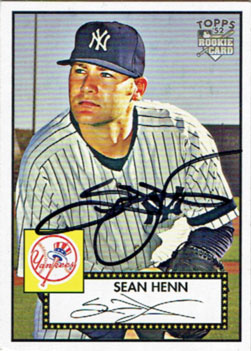 Signed Sean Henn 2007 Topps 1952-style Rookies baseball card from my collection