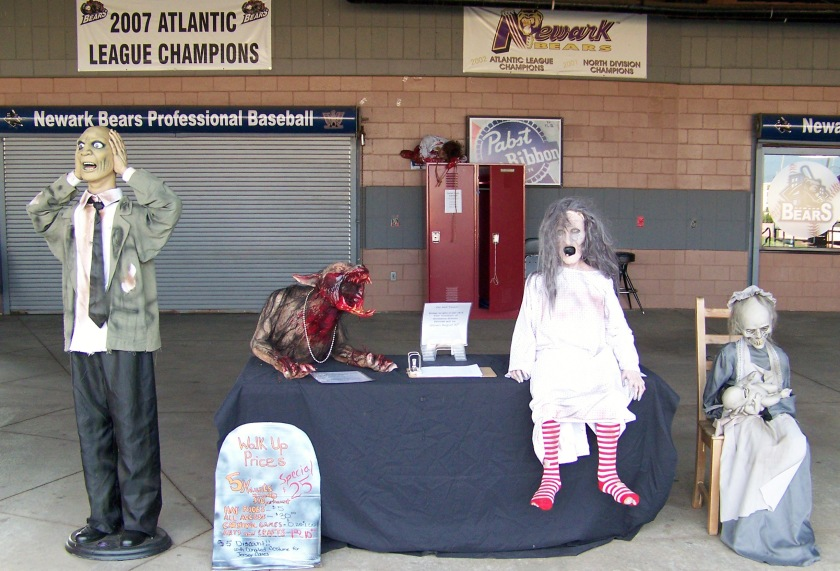 "A table promoting the now-cancelled ""Stadium of Screams"" haunted house event at one of the Newark Bears' final home games of 2013 (Photo credit: Paul Hadsall)"