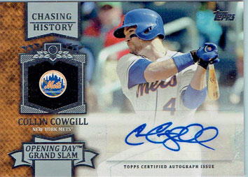 Collin Cowgill's 2013 Topps Update Chasing History autographed insert baseball card