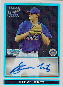 Steve Matz 2009 Bowman Draft Picks autograph card 030/500