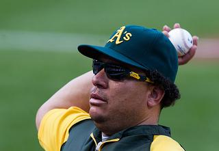 Bartolo Colon pitches for the Oakland Athletics in 2012 (Photo credit: Keith Allison via Flickr)