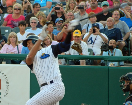 Alex Rodriguez swings and misses during an at-bat for the Trenton Thunder on Aug. 2, 2013 (Photo credit: Paul Hadsall)