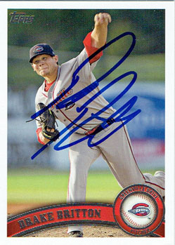 Autographed Drake Britton 2011 Topps Pro Debut baseball card from my collection