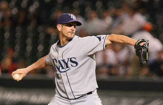 Grant Balfour pitches for the Tampa Bay Rays in 2008 (Photo credit: Keith Allison)