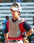 Lance Burkhart as a catcher for the Southern Maryland Blue Crabs in 2009. (Photo credit: Paul Hadsall)