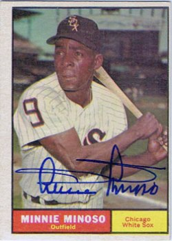 Signed Minnie Minoso 1961 Topps baseball card from my collection