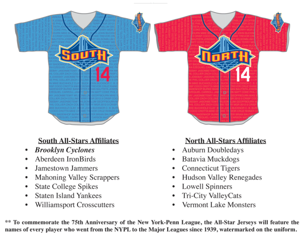 Uniforms for the 2014 New York-Penn League All-Star Game (Brooklyn Cyclones image)