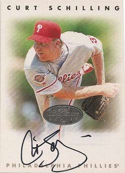 Curt Schilling's 1996 Leaf Signature Series silver card