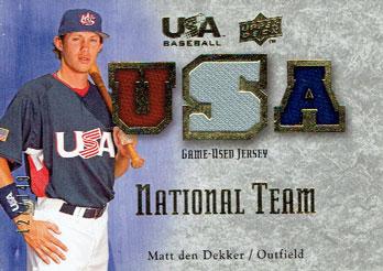 Matt den Dekker 2008 Upper Deck Team USA relic card