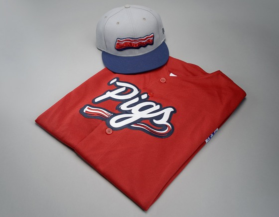 New Lehigh Valley Iron Pigs Saturday home jersey and cap (team photo)