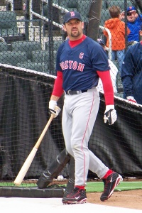 Jason Varitek takes batting practice at Citi Field in 2009 prior to the second game of an exhibition series that unofficially opened the new stadium (Photo credit: Paul Hadsall)