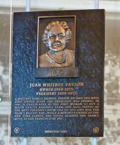Joan Payson's Mets Hall of Fame plaque (Photo credit: Paul Hadsall)