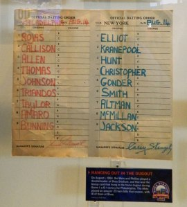 Dugout lineup cards from a 1964 Mets vs. Phillies game. (Photo credit: Paul Hadsall)