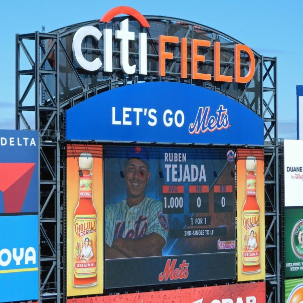 It didn't last very long, but Ruben Tejada had a perfect batting average for a few moments on Opening Day (Photo credit: Paul Hadsall)
