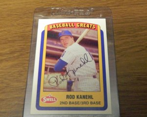 Signed Rod Kahnel baseball card from my collection