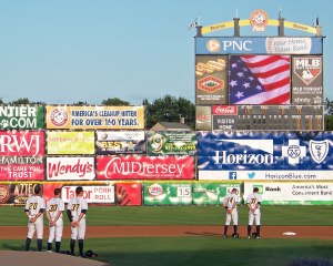 Trenton players stand at attention before the National Anthem (Photo credit: Paul Hadsall)