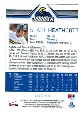 The back of Slade Heathcott's 2014 Trenton Thunder baseball card