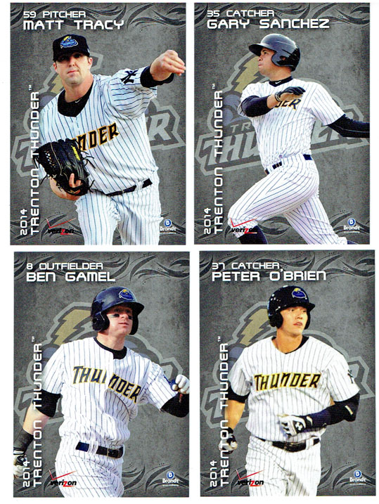 The 2014 baseball cards of the Trenton Thunder's All-Star contingent