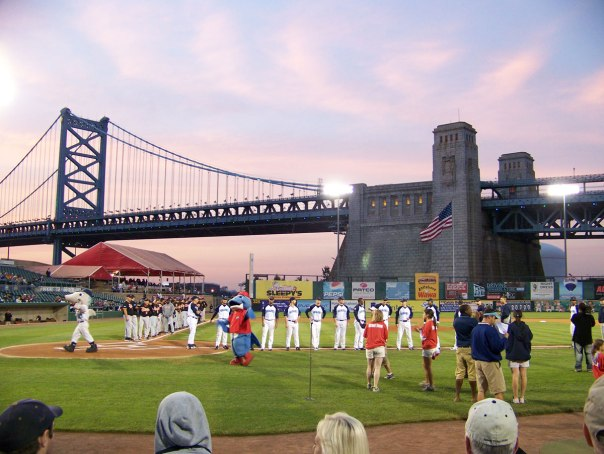 You can see the Benjamin Franklin Bridge in the background of this photo taken during the  player introductions before an Atlantic League playoff game in 2008 (Photo credit: Paul Hadsall)