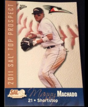 Manny Machado's 2011 South Atlantic League's Top Prospects set baseball card