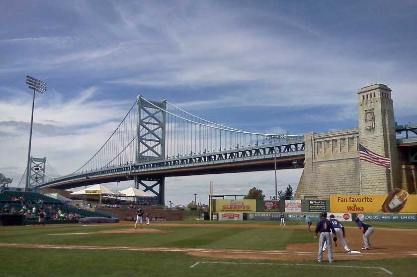 The Benjamin Franklin Bridge, visible beyond Campbell's Field (Photo credit: Paul Hadsall)