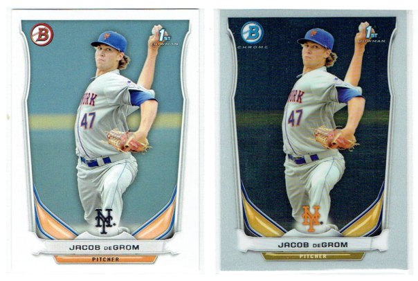 Jacob deGrom's regular and Chrome prospects cards from the 2014 Bowman set