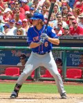 New York Mets outfielder Matt den Dekker hits at Citizens Bank Ballpark in Philadelphia (Photo credit: Paul Hadsall)
