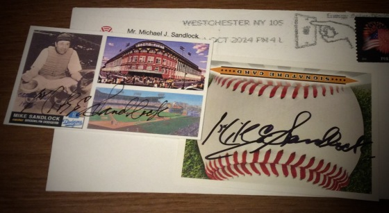 Signed cards from Mike Sandlock, obtained through the mail