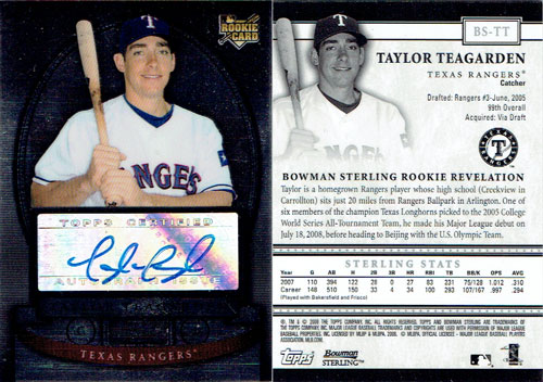 Signed Taylor Teagarden 2008 Bowman Sterling baseball card, purchased for $4 shipped from eBay