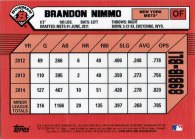 "The back of Brandon Nimmo's 2014 ""1989 Bowman is Back"" baseball card"