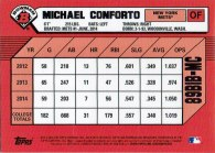 """The back of Michael Conforto's 2014 """"1989 Bowman is Back"""" baseball card"""