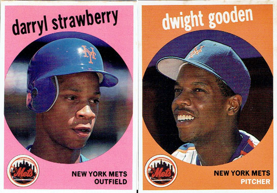 Not exactly Topps Heritage... these two cards were printed by Baseball Cards Magazine in 1989 to entice readers to buy the monthly publication during the peak of the baseball card boom.