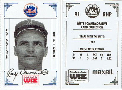 Signed Ray Daviault 1991 Wiz Mets baseball card from my collection