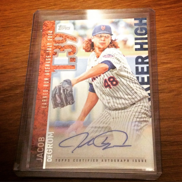 Signed Jacob deGrom 2015 Topps baseball card from my collection