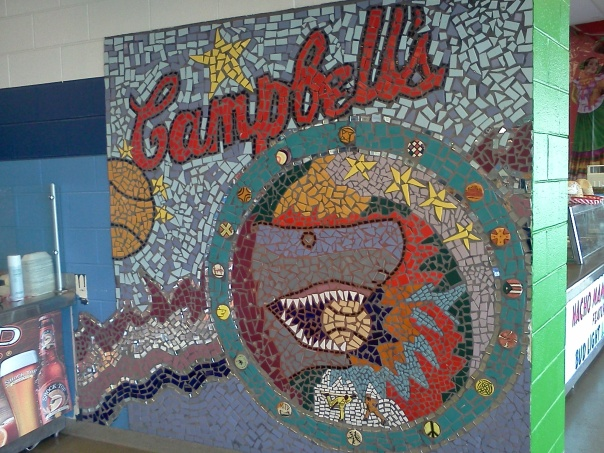 Mosaic art displayed at one of the concession stands at Campbell's Field  (Photo credit: Paul Hadsall)