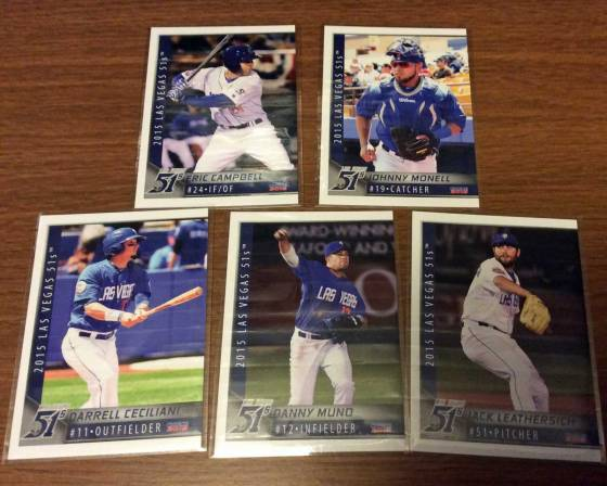 2015 Las Vegas 51s baseball cards for Eric Campbell, Johnny Monell, Darrell Ceciliani, Danny Muno and Jack Leathersich
