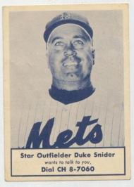 Rare Duke Snider Mets baseball card set record auctionprice