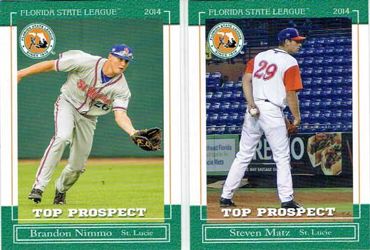 Brandon Nimmo and Steven Matz's baseball cards from the 2014 Florida State League Prospects set