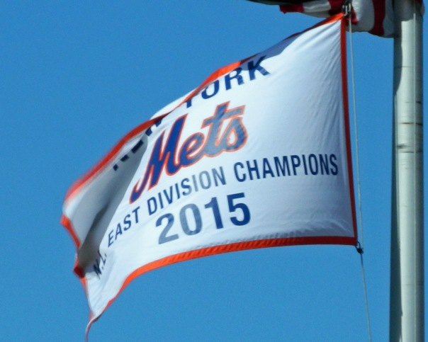 The New York Mets wasted no time in hanging a 2015 National League East Division Champions banner at Citi Field (Photo credit: Paul Hadsall)