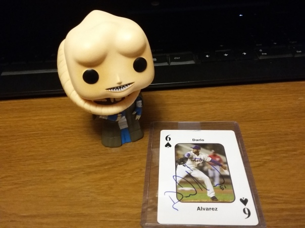 Bib Fortuna presents the latest addition to my Mets autograph collection: a playing card signed by reliever Dario Alvarez