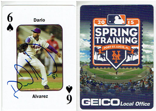 Signed Dario Alvarez 2015 Geico Mets playing card from my collection (front & back views)