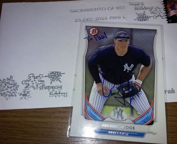 Signed Aaron Judge 2014 Bowman baseball card from my collection